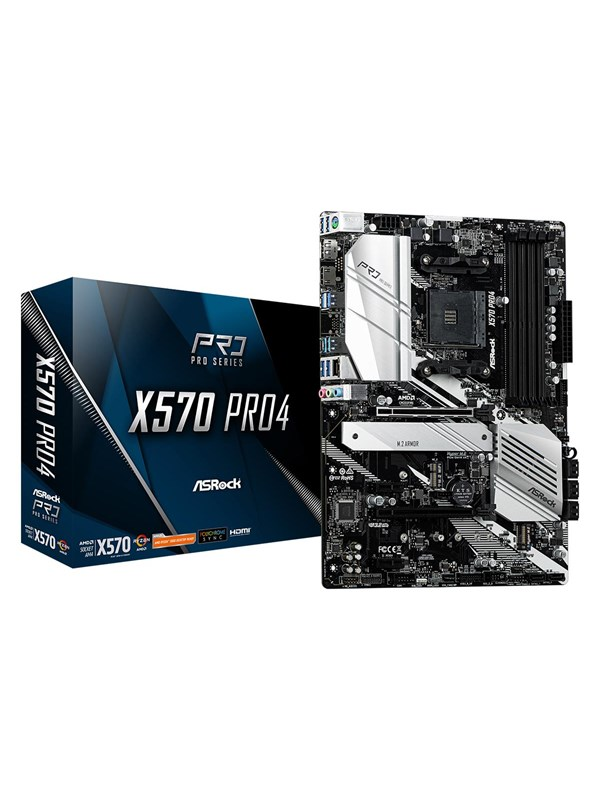 Image of   ASRock X570 PRO4 Bundkort - AMD X570 - AMD AM4 socket - DDR4 RAM - ATX