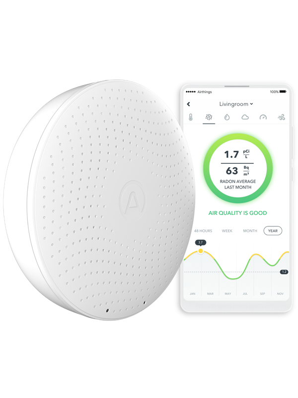 Image of   Airthings Wave Plus - Smart Luftkvalitetsmåler med Radonmåler