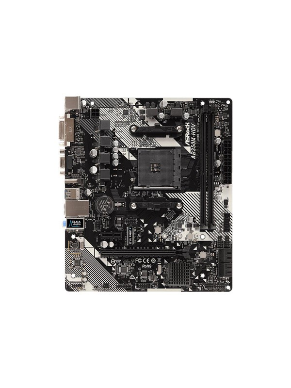 Image of   ASRock AB350M-HDV R4.0 - motherboard - micro ATX - Socket AM4 - AMD B350 FCH Bundkort - AMD B350 - AMD AM4 socket - DDR4 RAM - Micro-ATX