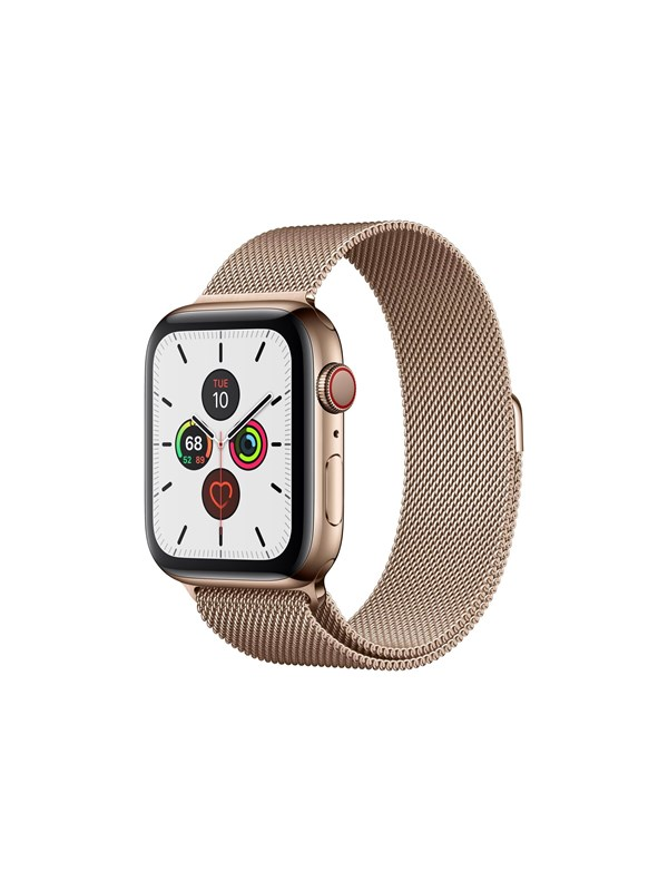 Image of   Apple Watch Series 5 (GPS + Cellular) 44mm Gold Stainless Steel Case with Gold Milanese Loop