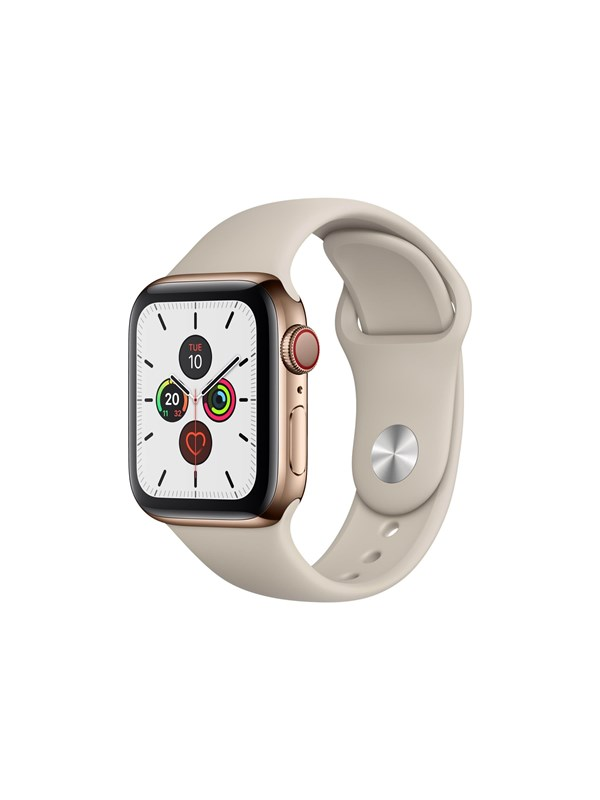 Image of   Apple Watch Series 5 (GPS + Cellular) 40mm Gold Stainless Steel Case with Stone Sport Band