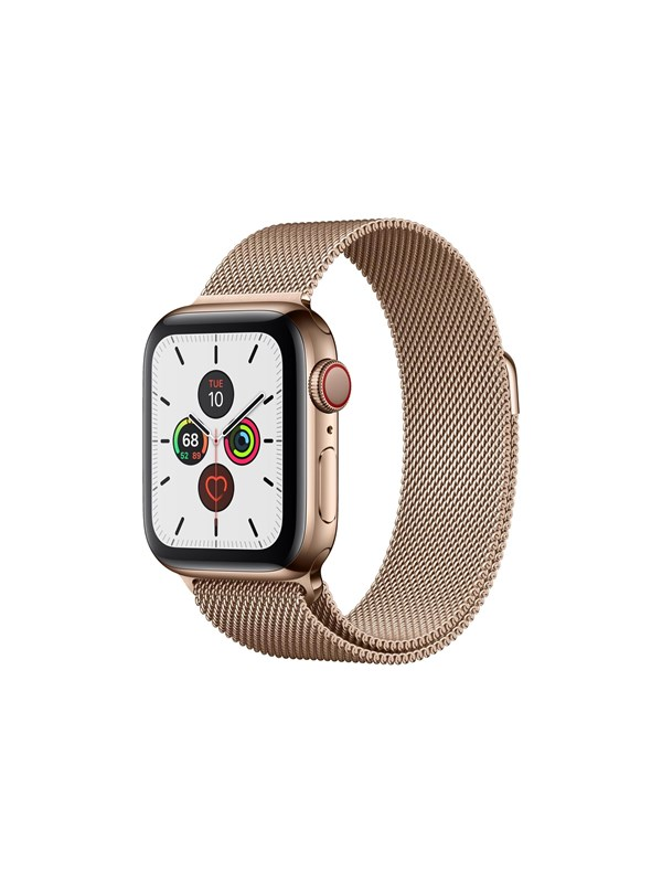 Image of   Apple Watch Series 5 (GPS + Cellular) 40mm Gold Stainless Steel Case with Gold Milanese Loop