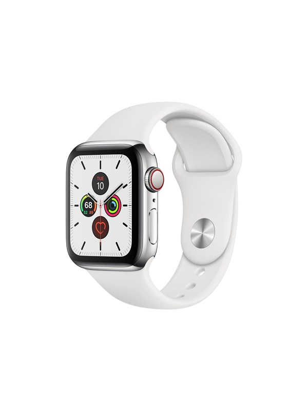 Image of   Apple Watch Series 5 (GPS + Cellular) 40mm Stainless Steel Case with White Sport Band