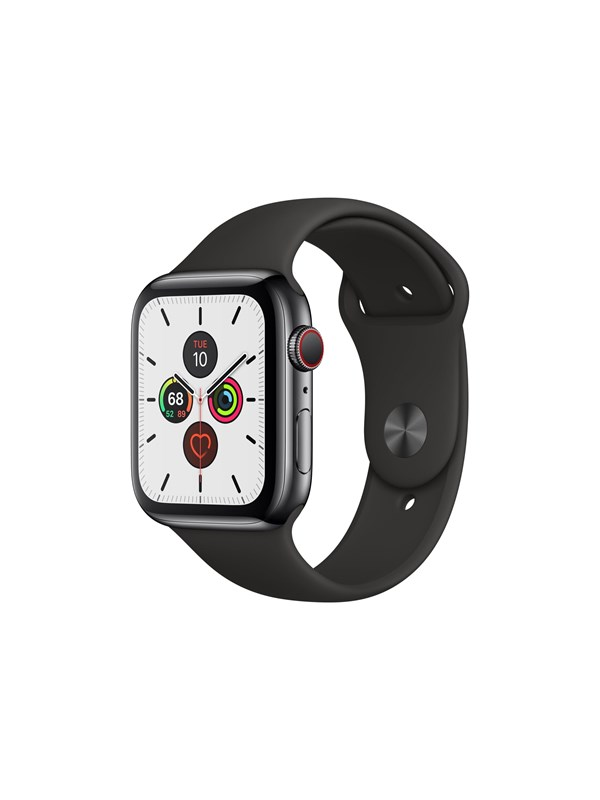Image of   Apple Watch Series 5 (GPS + Cellular) 44mm Space Black Stainless Steel Case with Black Sport Band