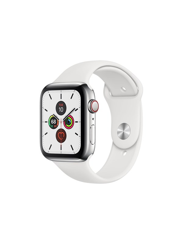Image of   Apple Watch Series 5 (GPS + Cellular) 44mm Stainless Steel Case with White Sport Band