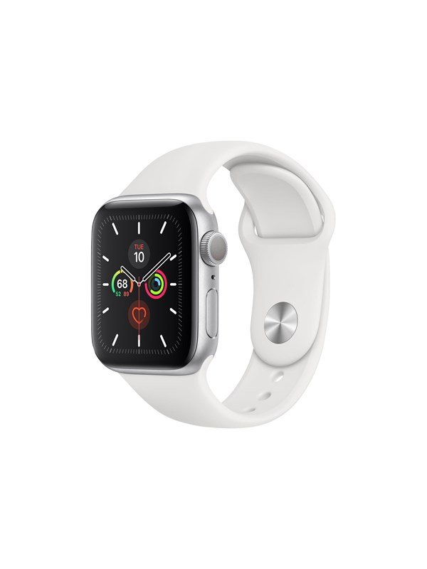 Image of   Apple Watch Series 5 (GPS + Cellular) 40mm Silver Aluminium Case with White Sport Band