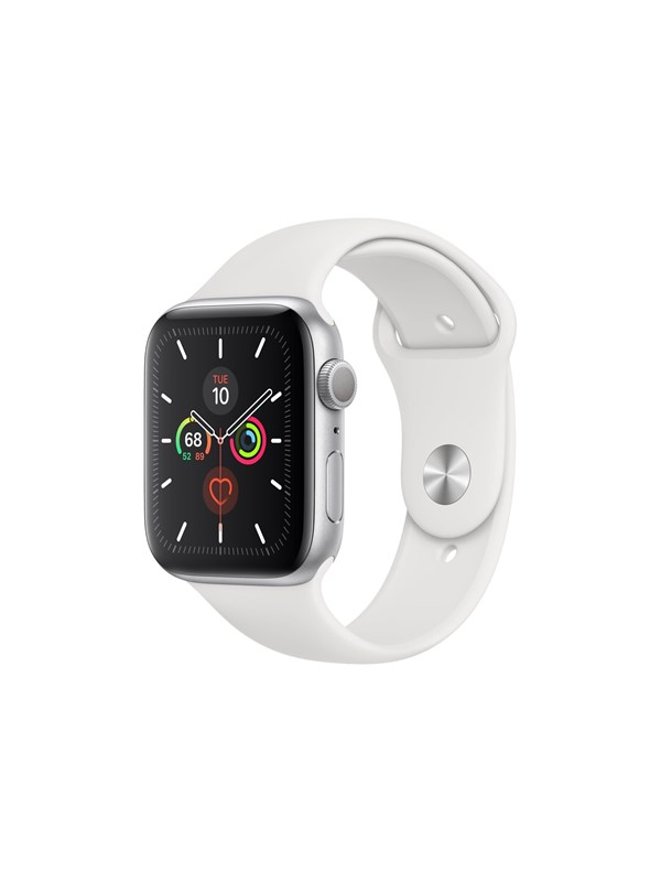 Image of   Apple Watch Series 5 (GPS + Cellular) 44mm Silver Aluminum Case with White Sport Band