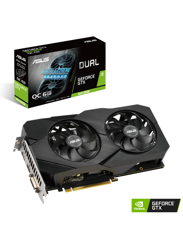 Image of   ASUS GeForce GTX 1660 SUPER DUAL OC EVO - 6GB GDDR6 RAM - Grafikkort