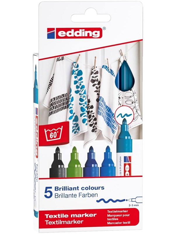 Image of   Edding Textile markers set of 5 cool colours