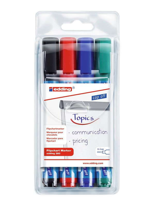Image of   Edding 380-4 FLIPCHART MARKERS 4 ass. Colours cap off time 2 weeks