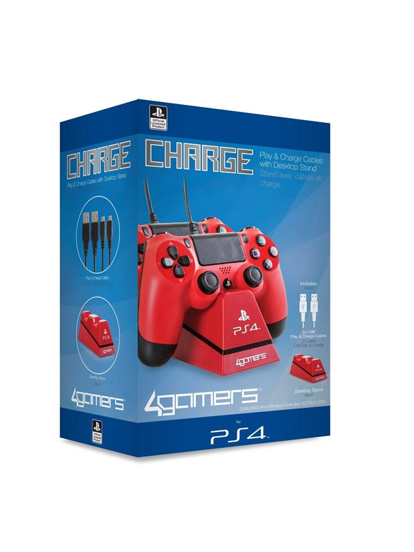 Image of   4Gamers Playstation 4 Charge Play and Charge Cables - Red - Tilbehør til spillekonsol - Sony PlayStation 4