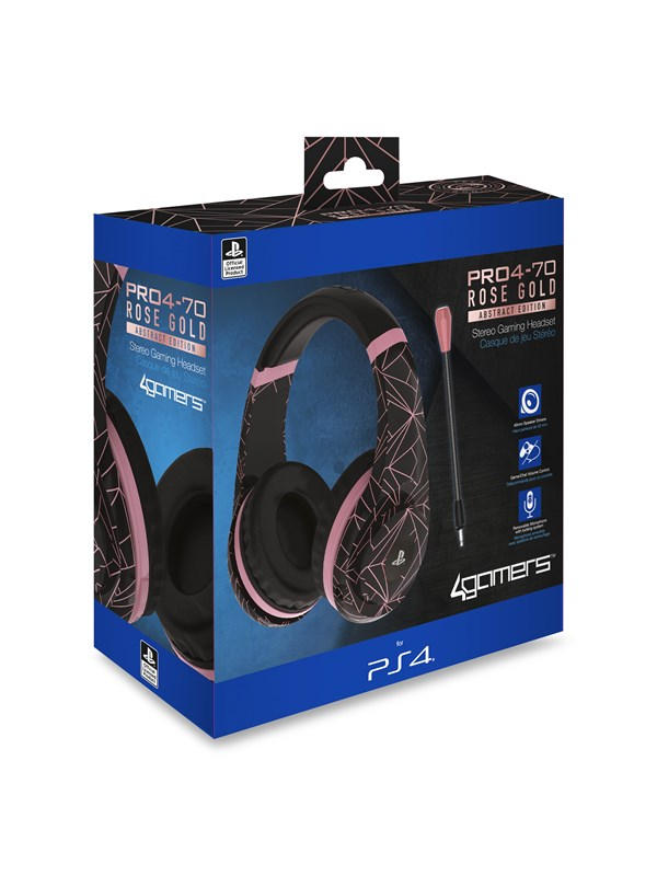 Billede af 4Gamers PRO70 PS4 Gaming Headset Rose Gold Edition - Abstract Black - Headset - Sony PlayStation 4
