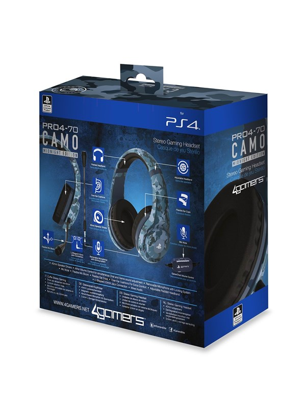 Billede af 4Gamers PRO70 PS4 Stereo Gaming Headset - Midnight Camo - Headset - Sony PlayStation 4