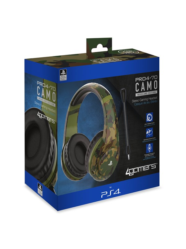 Image of   4Gamers PRO70 PS4 Stereo Gaming Headset - Woodland Camo - Headset - Sony PlayStation 4