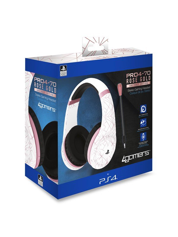 Billede af 4Gamers PRO70 PS4 Gaming Headset Rose Gold Edition - Abstract White - Headset - Sony PlayStation 4