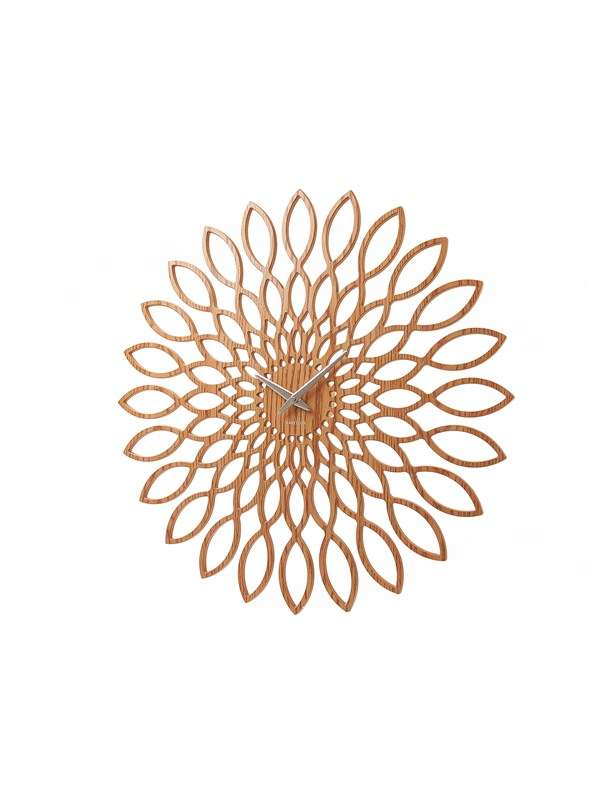 Image of   Columbine Wall clock Sunflower MDF wood finish