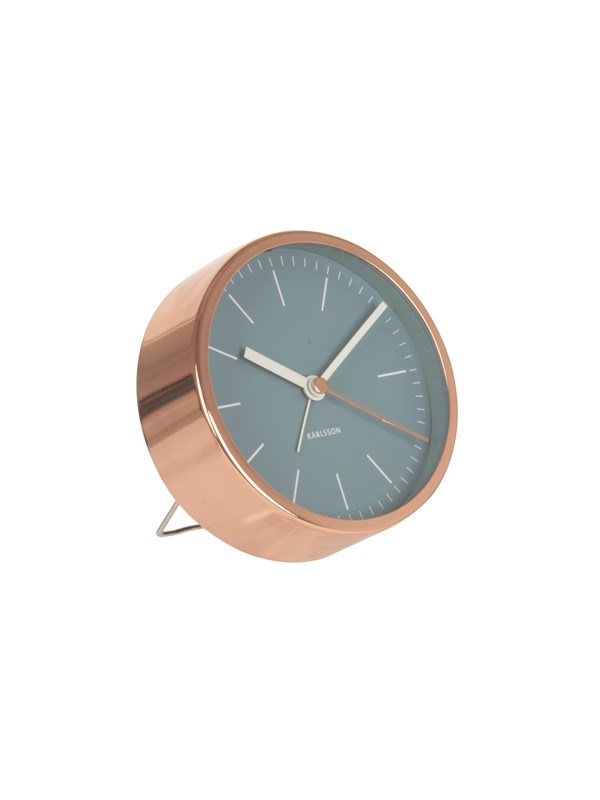 Image of   Columbine Alarm clock Minimal jeans blue w. copper case