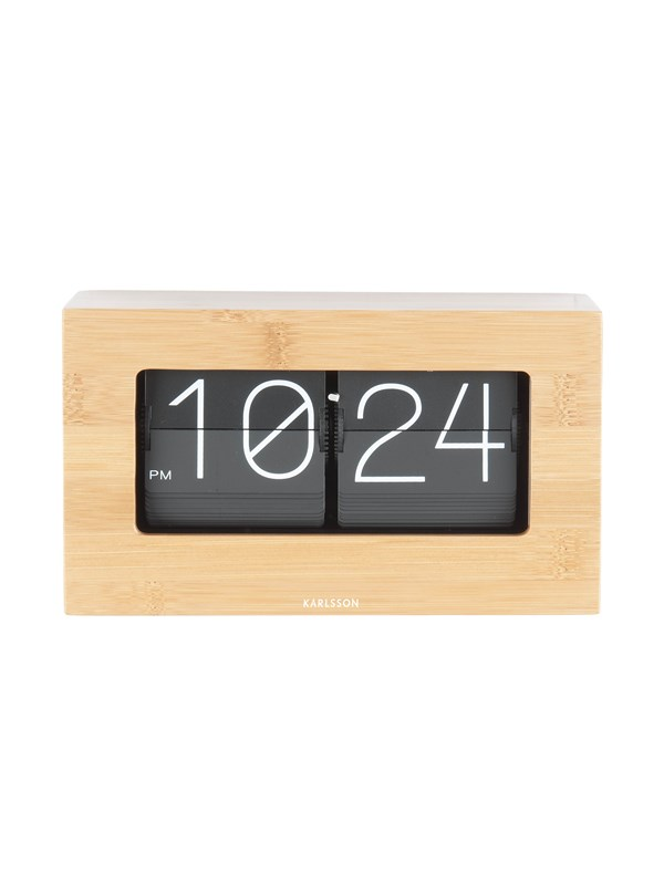 Image of   Columbine Table clock Boxed Flip bamboo
