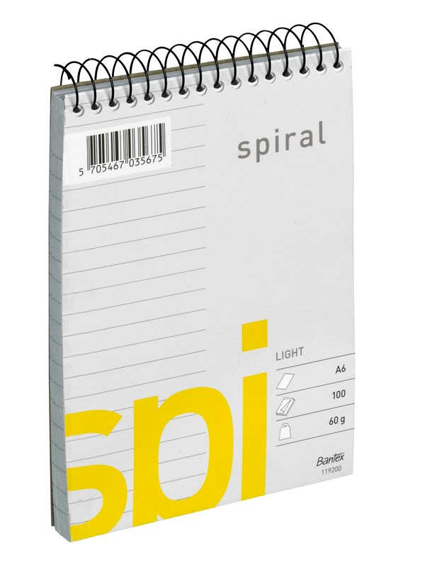 Image of   Bantex Light Spi Spiralblok A6 Linjeret