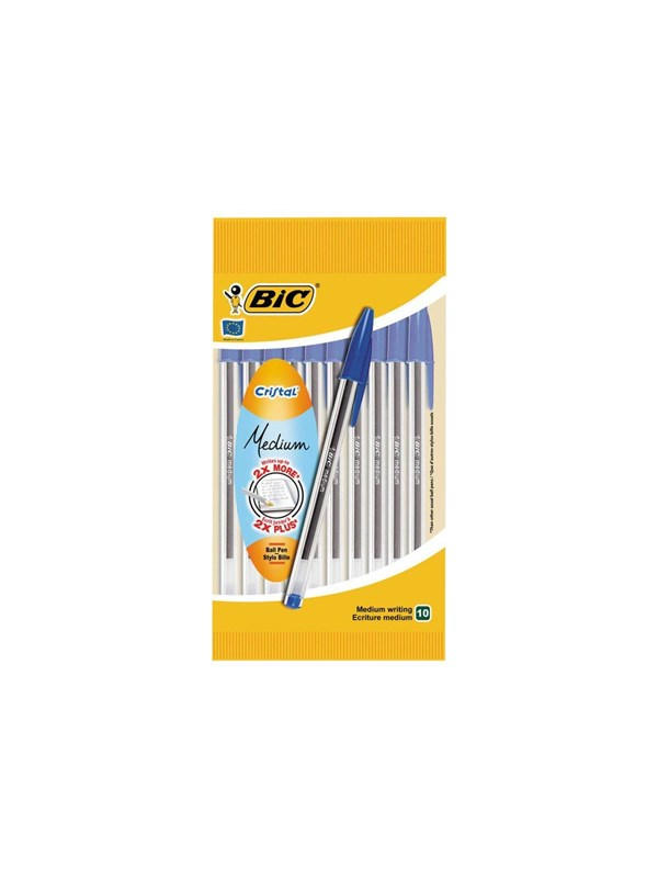 Image of   BIC Cristal Original Ballpoint Pens Medium Point (1.0 mm) - Blue Pack of 10