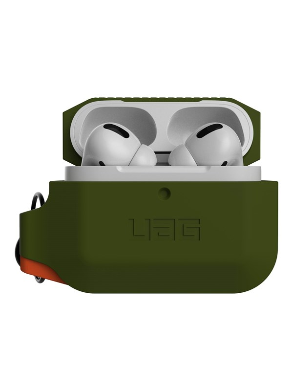 UAG Rugged Case for AirPods Pro - Silicone Case Olive Drab/Orange thumbnail