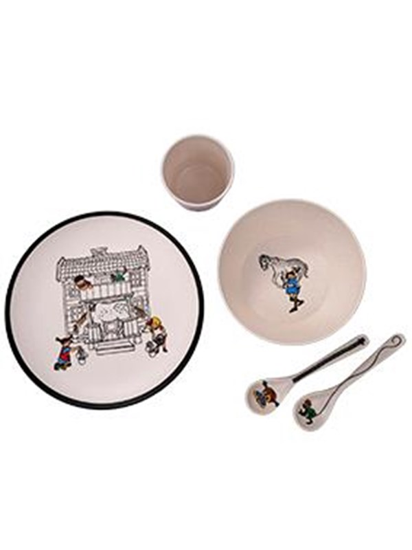 Image of   Barbo Toys Pippi Bamboo Melamine 5 pcs package (plate bowl - Care & Meals