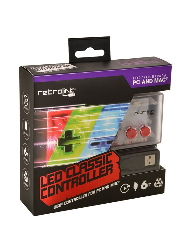 Retrolink NES Style Controller USB Blue/Red/Green LED - Gamepad - PC