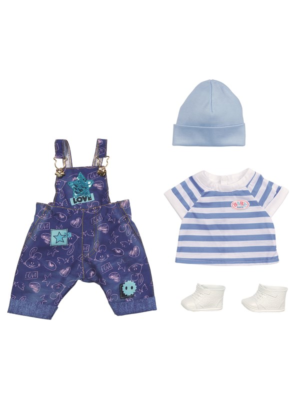 Image of   Baby Born Deluxe Jeans Dungaree Set 43cm