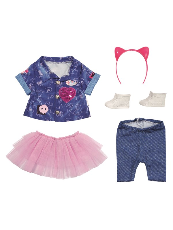Image of   Baby Born Deluxe Jeans Dress Set 43cm