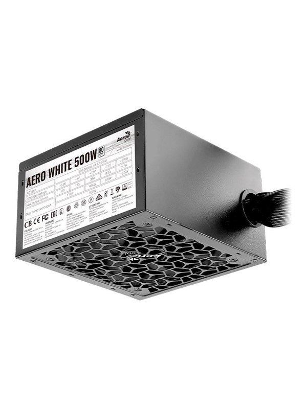 Image of   AeroCool AERO White 500W Strømforsyning - 500 Watt - 120 mm - 80 Plus White certified