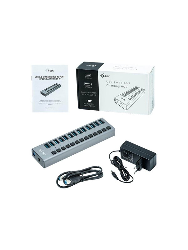 Image of   I-Tec USB 3.0 Charging HUB 13 port + Power Adapter 60 W USB hub - 13 ports - Grå