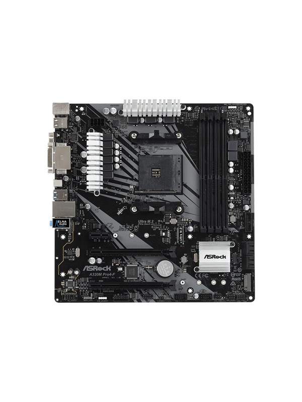Image of   ASRock A320M Pro4-F - motherboard - micro ATX - Socket AM4 - AMD A320 Bundkort - AMD A320 - AMD AM4 socket - DDR4 RAM - Micro-ATX