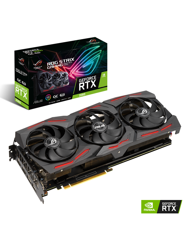 Image of   ASUS GeForce RTX 2060 ROG STRIX EVO OC - 6GB GDDR6 RAM - Grafikkort