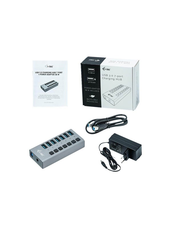 Image of   I-Tec USB 3.0 Charging HUB 7 port + Power Adapter 36 W USB hub - 7 ports - Grå