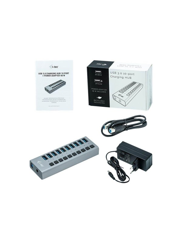 Image of   I-Tec USB 3.0 Charging HUB 10 port + Power Adapter 48 W USB hub - 10 ports - Grå
