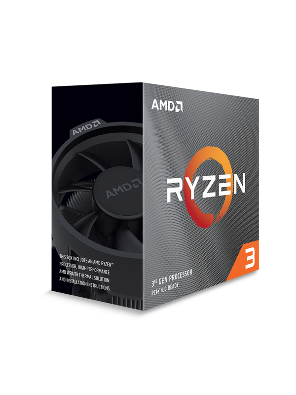 Image of   AMD Ryzen 3 3100 Wraith Stealth CPU - 4 kerner 3.6 GHz - AMD AM4 - AMD Boxed (PIB - med køler)